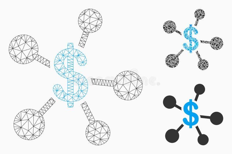 Vetor Mesh Wire Frame Model da emissão do dinheiro e ícone do mosaico do triângulo ilustração royalty free