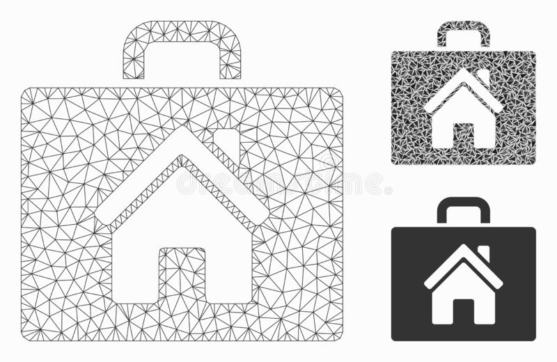 Vetor Mesh Wire Frame Model do caso da corretora de imóveis e ícone do mosaico do triângulo ilustração royalty free