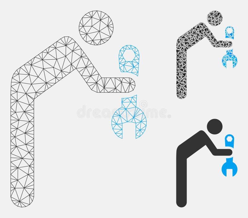 Vetor Mesh Wire Frame Model do recruta e ícone do mosaico do triângulo ilustração stock