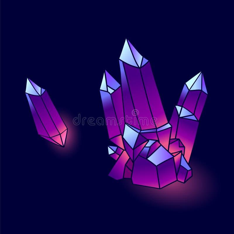 Vetor mineral dos cristais ilustração royalty free