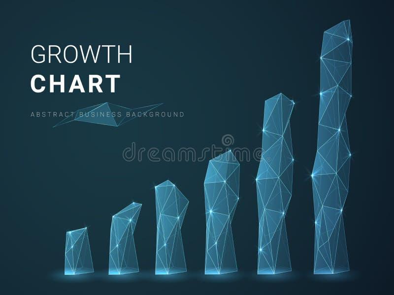 Vetor moderno abstrato do fundo do negócio que descreve a carta de crescimento com estrelas e linhas na forma de uma carta de bar ilustração do vetor