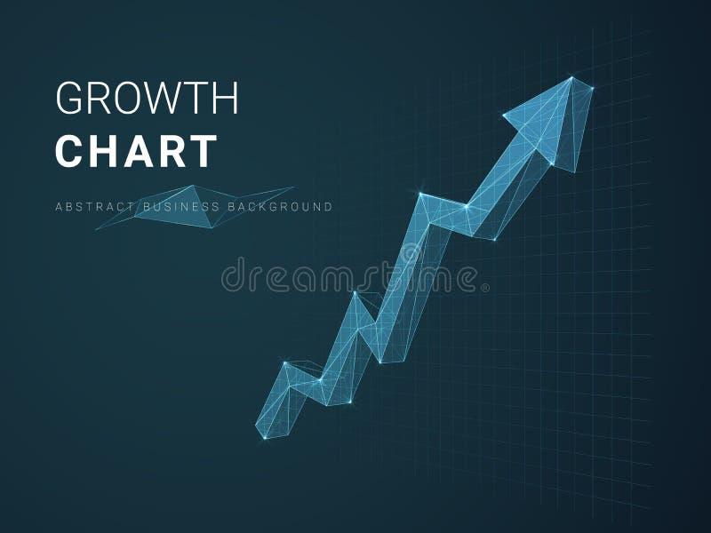 Vetor moderno abstrato do fundo do negócio que descreve a carta de crescimento com estrelas e linhas na forma de uma seta no fund ilustração stock
