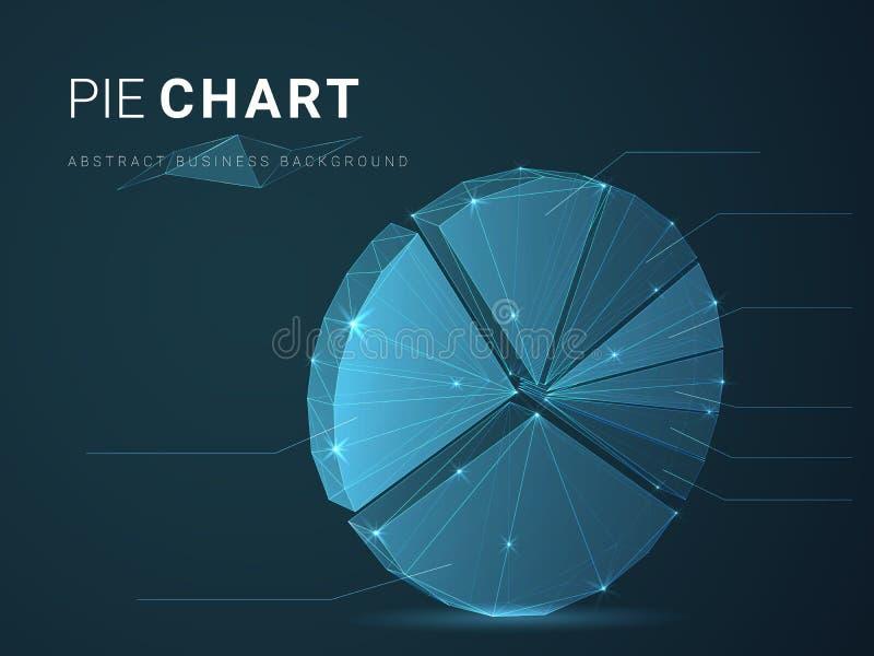 Vetor moderno abstrato do fundo do negócio que descreve a carta de torta com estrelas e linhas na forma de um gráfico de círculo  ilustração do vetor