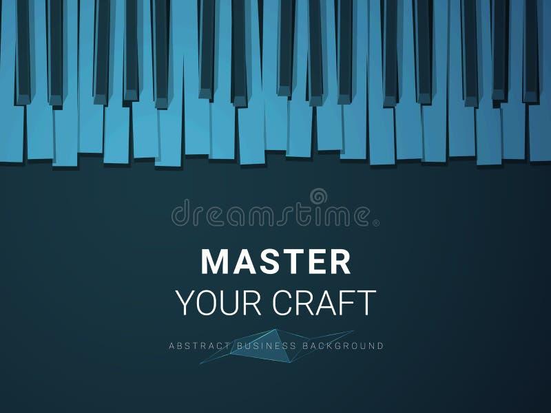 Vetor moderno abstrato do fundo do negócio que descreve o domínio de um ofício na forma de um teclado de piano estilizado no fund ilustração royalty free
