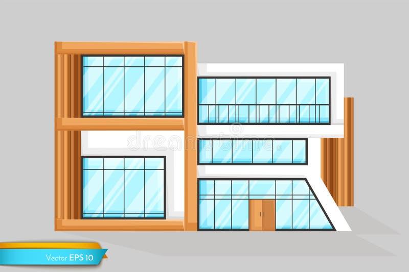 Vetor moderno da opinião dianteira da casa A fachada da arquitetura detalhou ilustrações ilustração do vetor