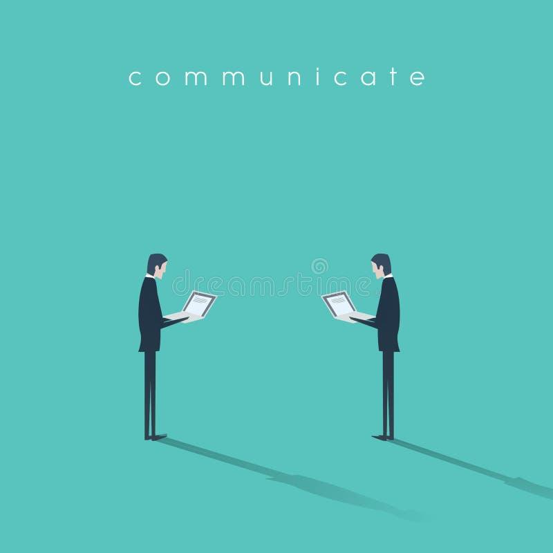 Vetor moderno do conceito de uma comunicação empresarial com o homem de negócios dois que trabalha em portáteis ilustração royalty free