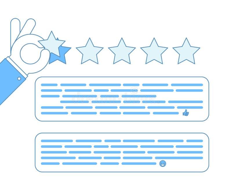 Vetor moderno do conceito do negócio do projeto do esboço dos desenhos animados do feedback da taxa da mão da experiência do clie ilustração royalty free