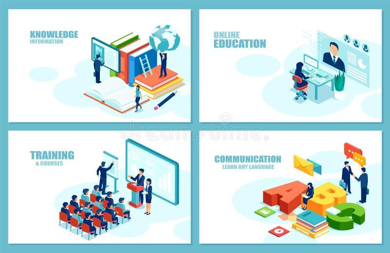 Vetor moderno do crescimento da carreira da educação para o desenvolvimento do Web site Grupo de moldes do página da web ilustração do vetor