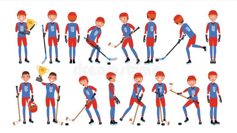 Vetor moderno do jogador de hóquei em gelo Poses diferentes Atleta na ação Ilustração lisa dos desenhos animados ilustração royalty free