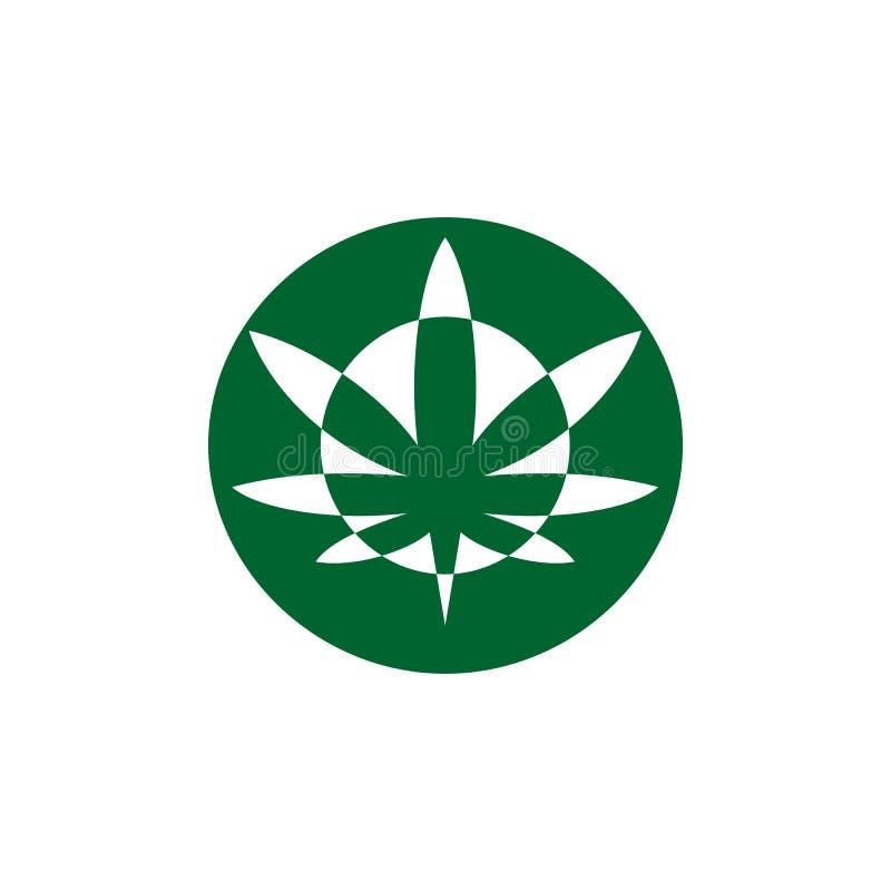 Vetor moderno do logotipo do cannabis do círculo ilustração royalty free