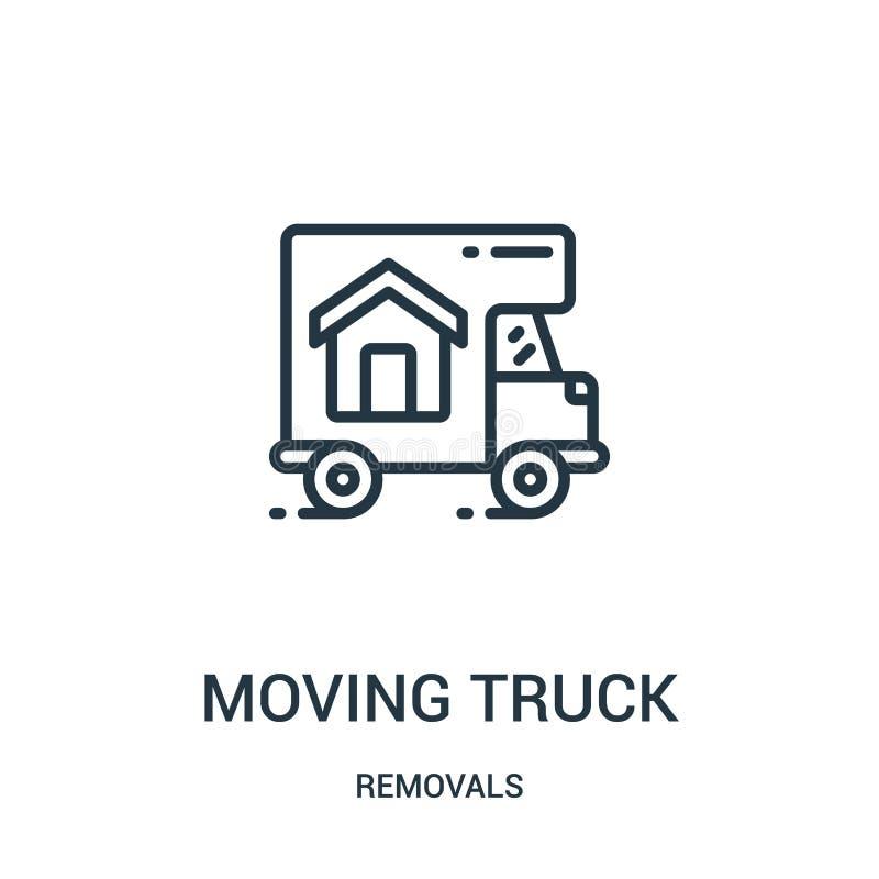 vetor movente do ícone do caminhão da coleção das remoções Linha fina ilustração movente do vetor do ícone do esboço do caminhão  ilustração royalty free