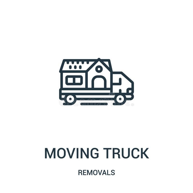 vetor movente do ícone do caminhão da coleção das remoções Linha fina ilustração movente do vetor do ícone do esboço do caminhão  ilustração do vetor