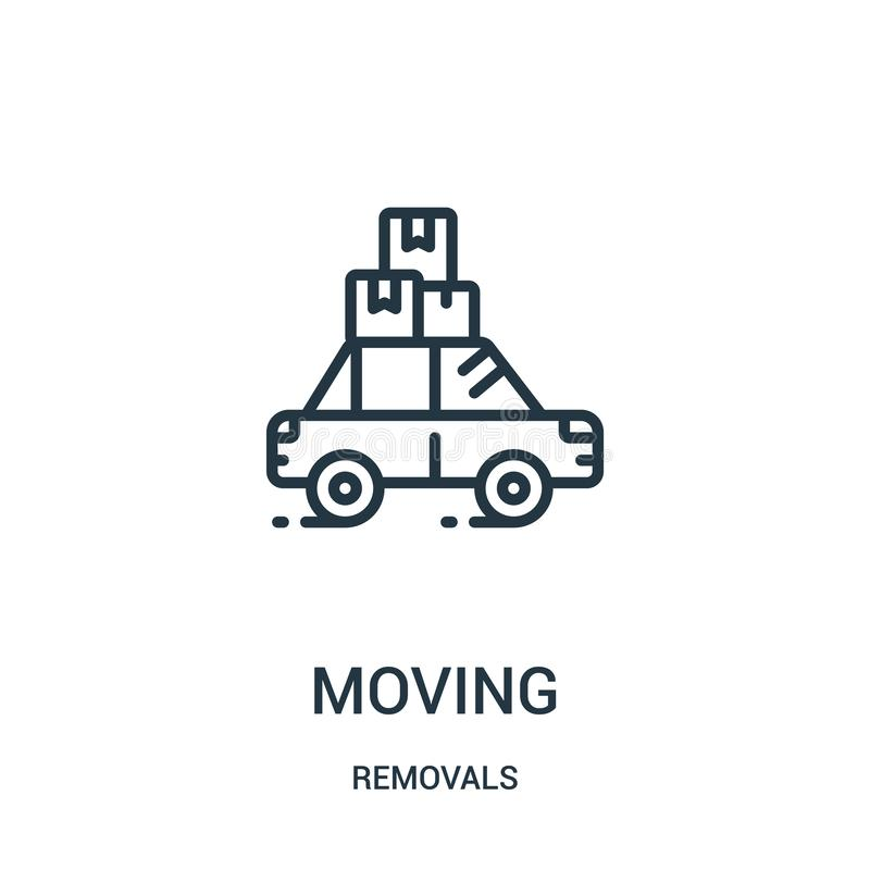 vetor movente do ícone da coleção das remoções Linha fina ilustração movente do vetor do ícone do esboço Símbolo linear para o us ilustração stock
