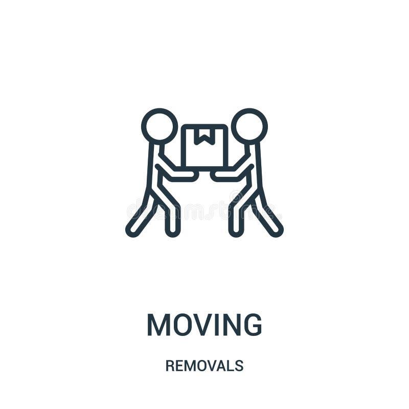 vetor movente do ícone da coleção das remoções Linha fina ilustração movente do vetor do ícone do esboço Símbolo linear para o us ilustração do vetor