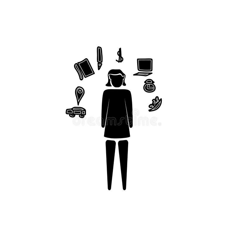 Vetor a multitarefas do ícone da mulher isolado no fundo branco, sinal a multitarefas da mulher, ilustrações do negócio ilustração royalty free