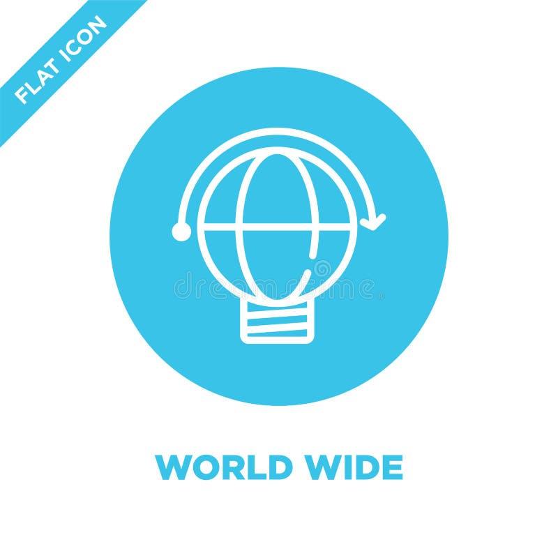 vetor mundial do ícone Linha fina ilustração mundial do vetor do ícone do esboço símbolo mundial para o uso na Web e em apps móve ilustração stock