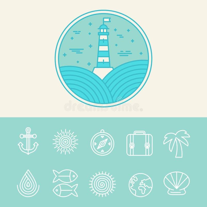 Vetor náutico e ícones do curso ilustração royalty free