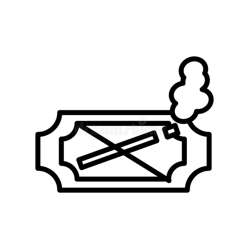 Vetor não fumadores do ícone isolado no fundo branco, no sinal não fumadores, na linha ou no sinal linear, projeto do elemento no ilustração royalty free