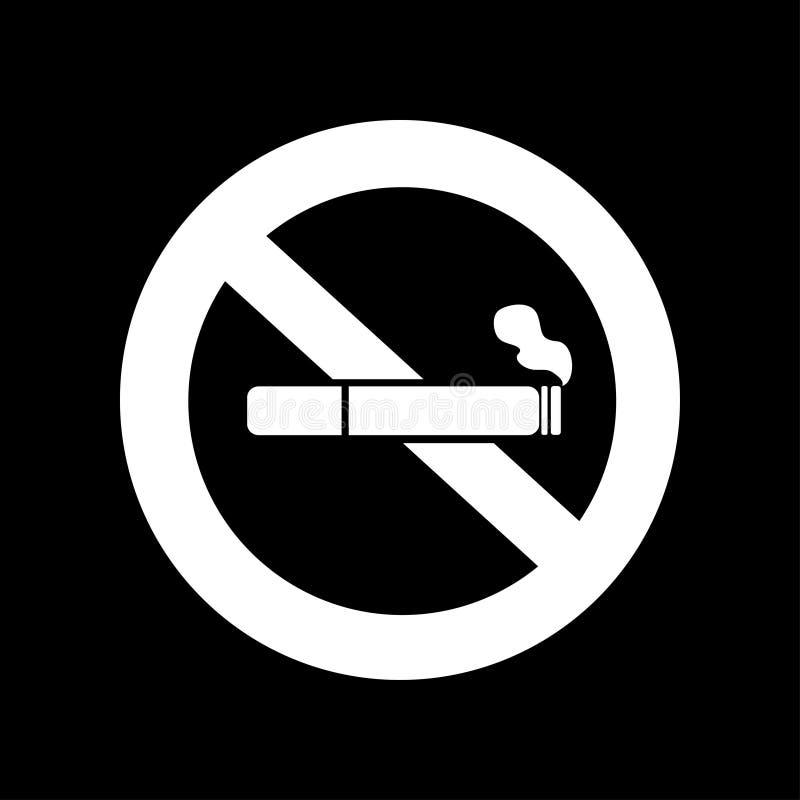 Vetor não fumadores O ícone do cigarro com filtro e o fumo no cruzado para fora circundam ilustração stock