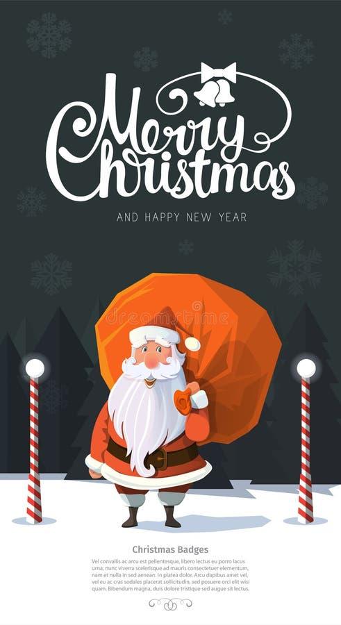 Vetor na moda de vista amigável Papai Noel na madeira ilustração stock