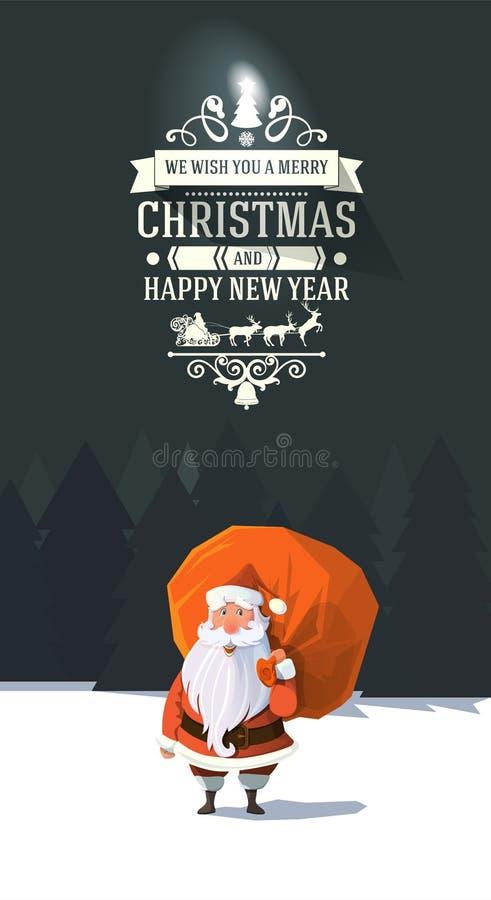 Vetor na moda de vista amigável Papai Noel na madeira com saco ilustração royalty free