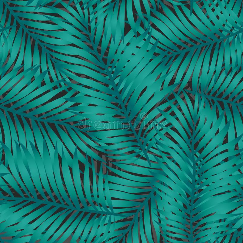 Vetor na moda, teste padrão sem emenda elegante Folhas de palmeira tropicais exóticas verdes grandes de árvores da banana ou de c ilustração royalty free