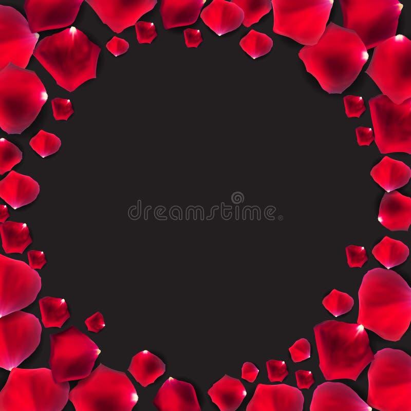 Vetor natural abstrato de Rose Petals Frame Background Realistic ilustração stock
