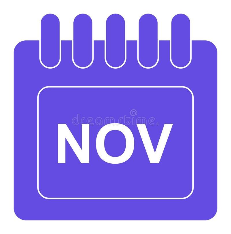 Vetor novembro no ícone mensal do calendário ilustração stock
