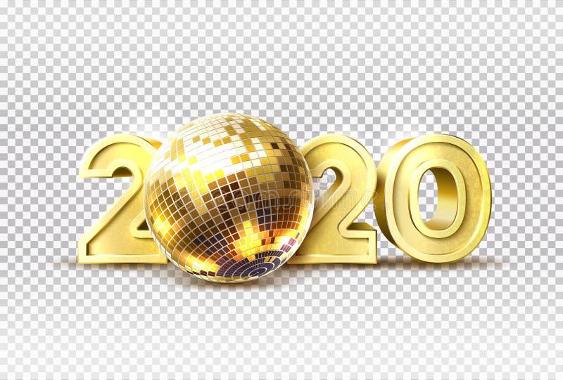 Vetor 2020, novo ano de festa, bola de disco dourada ilustração royalty free