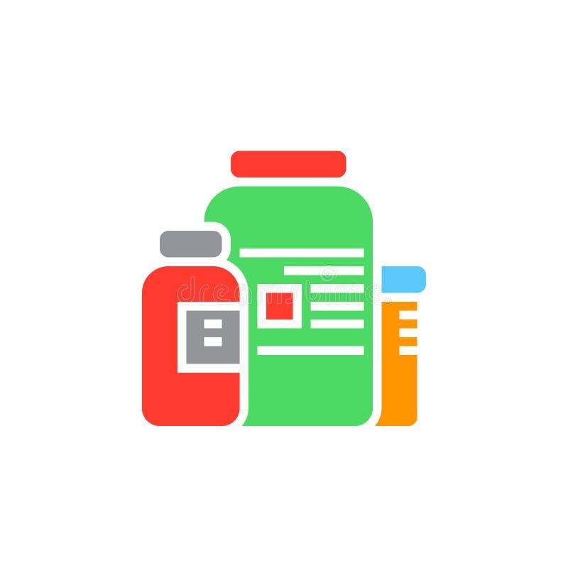Vetor nutritivo do ícone dos suplementos, sinal liso contínuo, pictograma colorido isolado no branco ilustração do vetor
