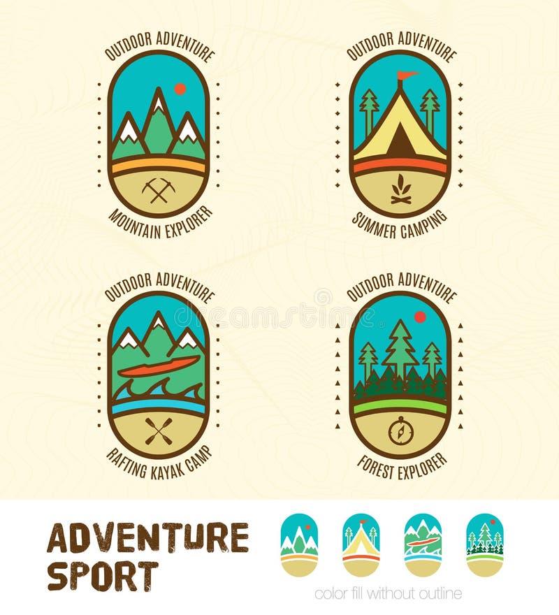 Vetor: O pavimento de crachás do logotipo do esporte da aventura inclui a montanha ex ilustração do vetor