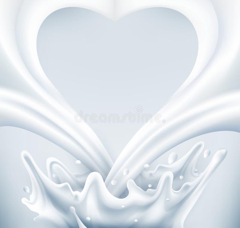 Vetor Ordenhe o respingo sob a forma do coração em um fundo cinzento ilustração do vetor