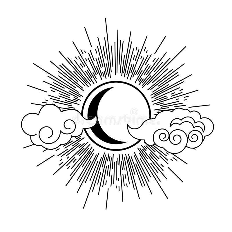 Vetor oriental do projeto do elemento da tatuagem do estilo de Sun, de lua e de nuvens ilustração stock