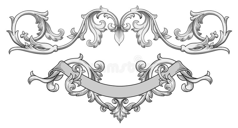 Vetor ornamentado da bandeira ilustração do vetor