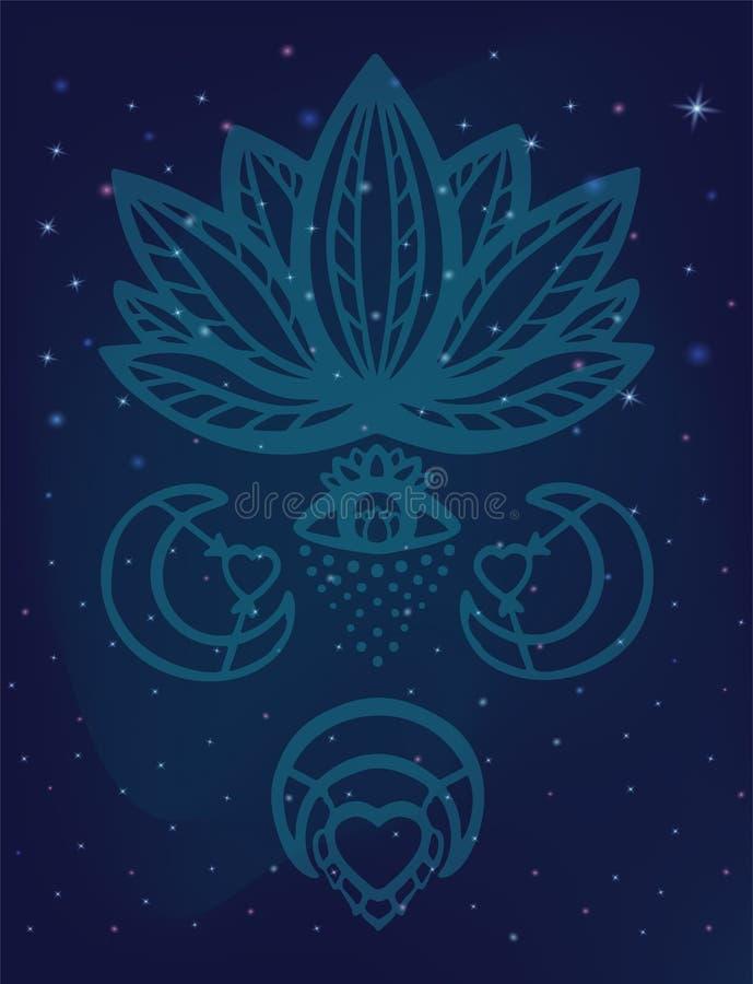 Vetor ornamentado da flor de lótus com olho da alquimia, lua e símbolos esotéricos do coração, lótus tirados mão do esboço na noi ilustração stock