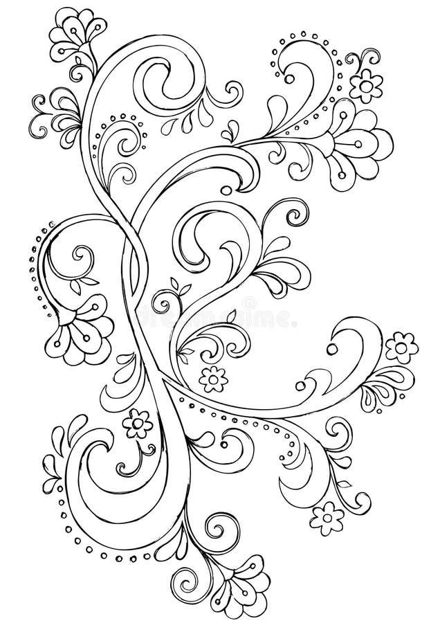 Vetor ornamentado do rolo do Doodle esboçado ilustração royalty free