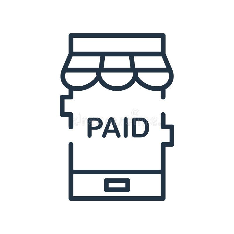 Vetor pago do ícone isolado no fundo branco, sinal pago ilustração do vetor