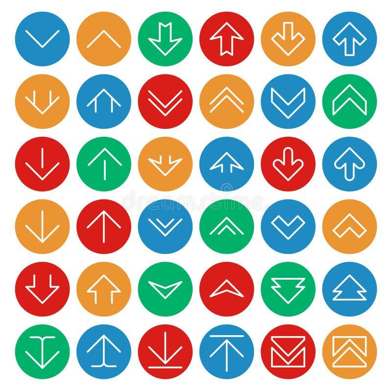Vetor para cima e para baixo setas em botões da cor do círculo Símbolos da transferência de arquivo pela rede da transferência ilustração do vetor