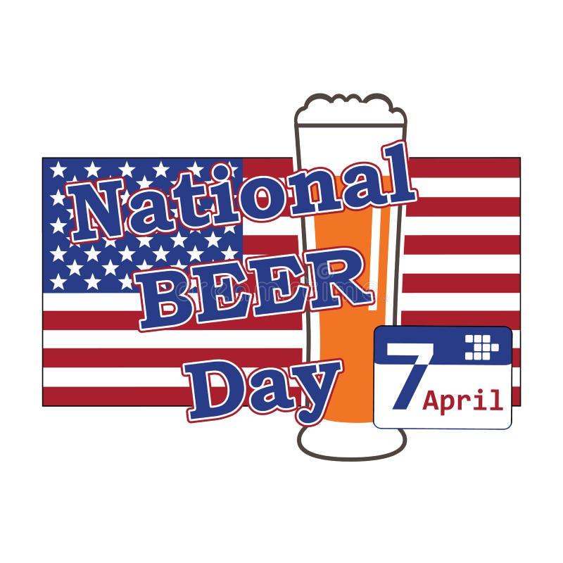 Vetor para o dia nacional da cerveja EUA o 7 de abril com vidro de cerveja em b ilustração stock