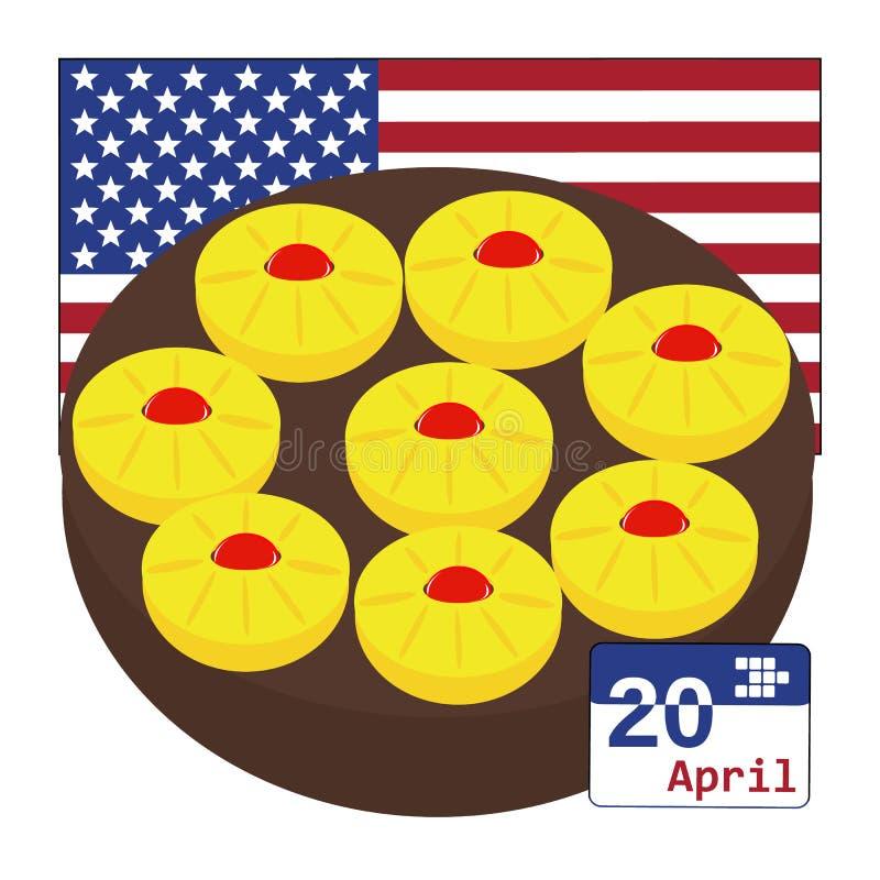 Vetor para o dia nacional do bolo de cabeça para baixo do abacaxi EUA o 20 de abril ilustração royalty free