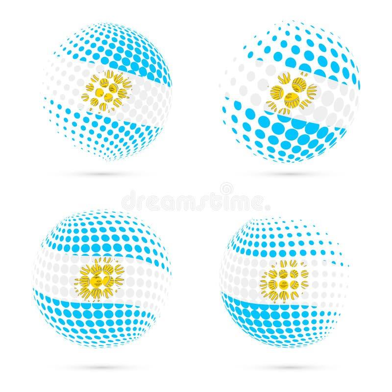 Vetor patriótico ajustado da bandeira de intervalo mínimo de Argentina ilustração stock