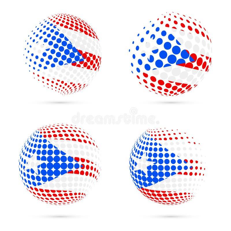 Vetor patriótico ajustado da bandeira de intervalo mínimo de Porto Rico ilustração royalty free