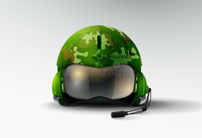 Vetor piloto do aviador do capacete dos fuzileiros navais do jato ilustração royalty free