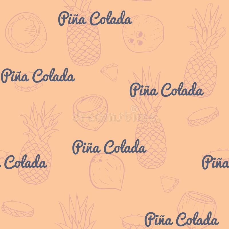 Vetor Pina Colada retro no projeto sem emenda do teste padrão de Dusty Orange ilustração do vetor