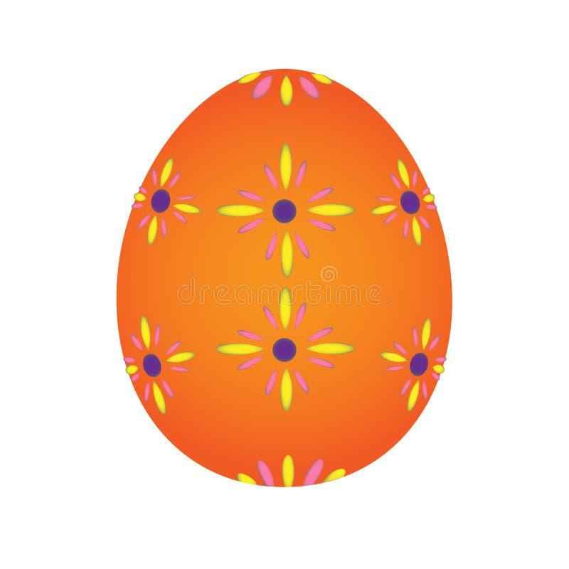 Vetor pintado alaranjado colorido do ovo da páscoa fotografia de stock