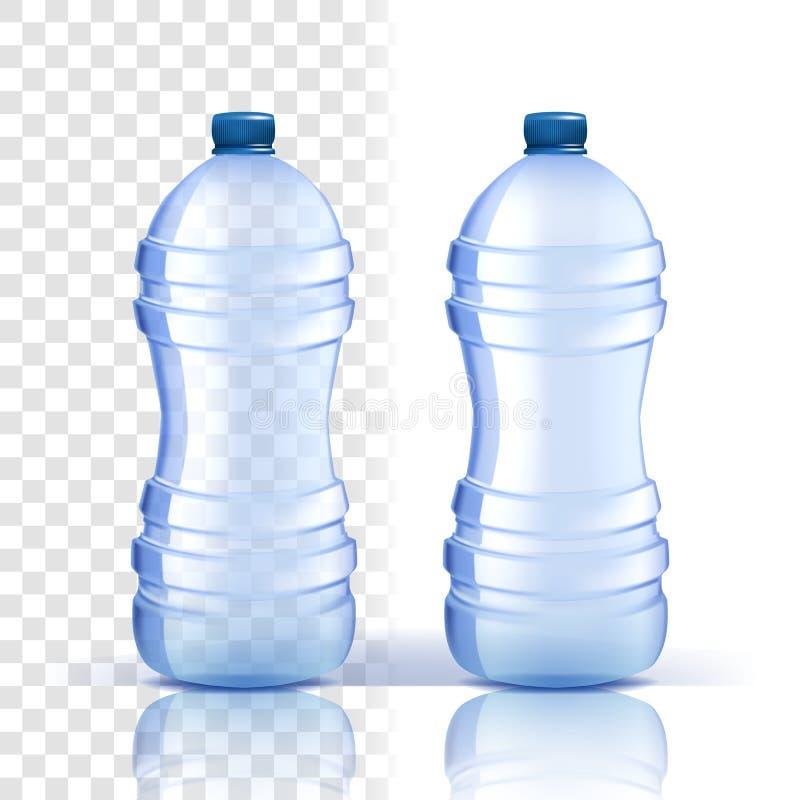 Vetor plástico da garrafa Placa da tampa Garrafa de água clássica mais azul com tampão Recipiente para a bebida, bebida, líquido, ilustração do vetor