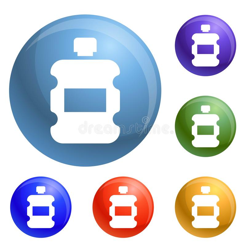 Vetor plástico do grupo dos ícones da garrafa de água ilustração royalty free