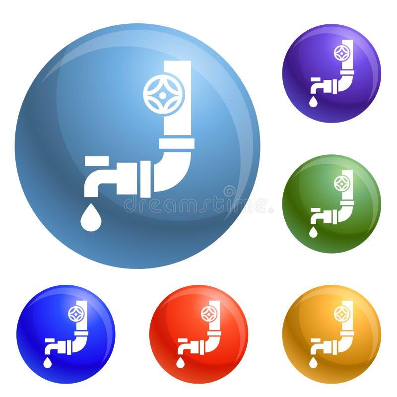 Vetor plástico do grupo dos ícones da torneira de água ilustração stock