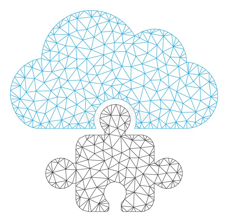 Vetor poligonal componente Mesh Illustration do quadro da nuvem ilustração stock