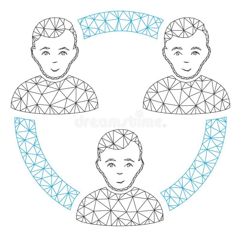 Vetor poligonal conectado Mesh Illustration do quadro dos membros sociais ilustração do vetor